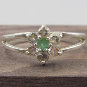 Jewelry - Size 10.25 Sterling Silver Floral CZ Diamond Band